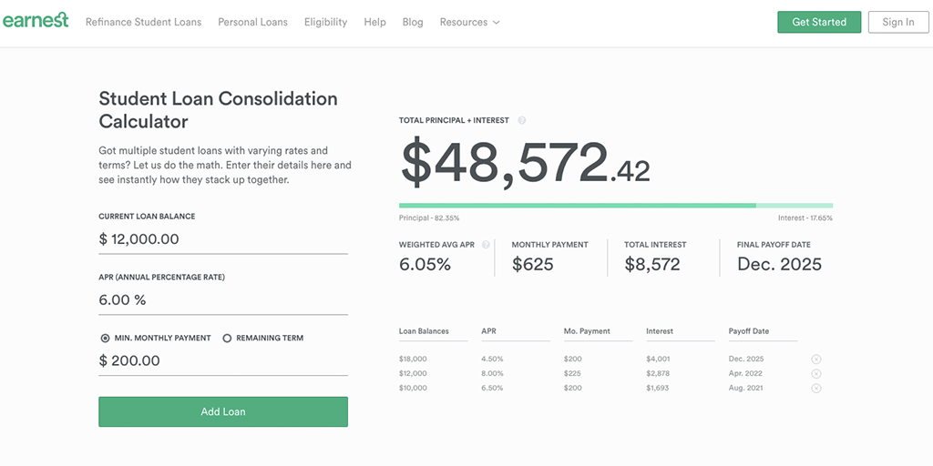 student loan consolidation calculator earnest
