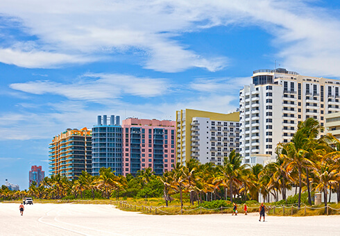 Hotels and residential buildings on the beach in Miami Florida