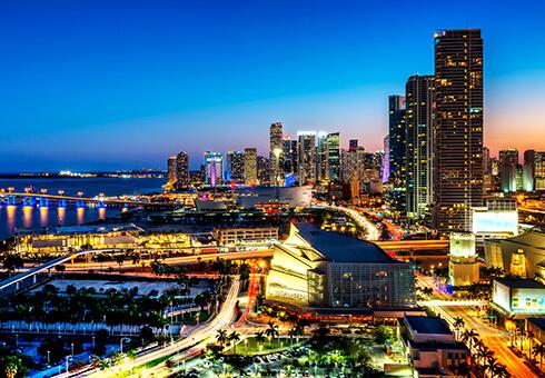 Miami downtown at night, Florida, USA