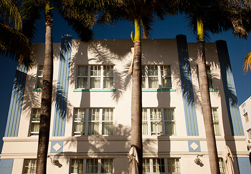 Art deco district of South Beach in Florida USA